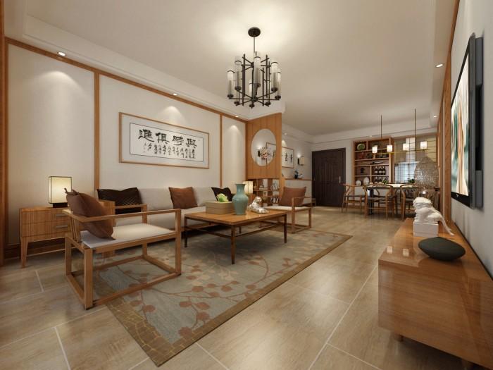 日韩风格-120平米三居室-装修样板间