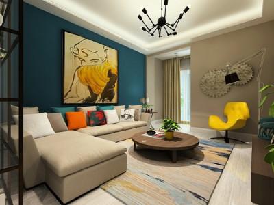 欧美风情-75平米二居室装修样板间