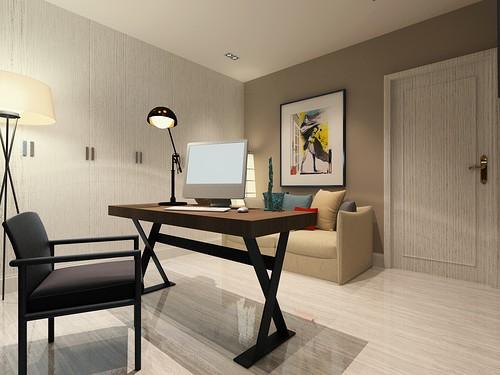 简欧风格-82平米二居室-装修样板间