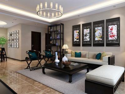 中式古典-94.72平米二居室装修样板间