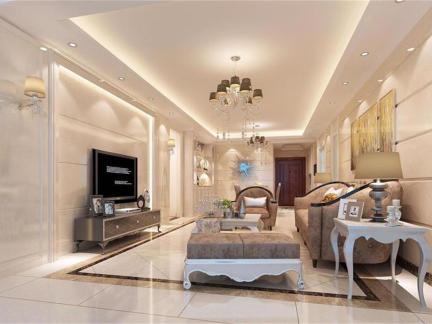 简欧风格-127平米三居室装修样板间
