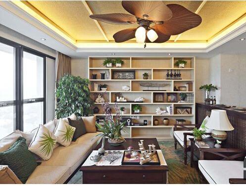 东南亚风格-94.76平米二居室-装修样板间