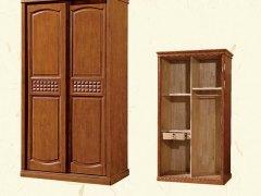 进口橡木衣柜实木三开门两开门推拉简约中式
