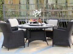 馨宁居户外PE仿藤桌椅五件套别墅庭院藤编桌椅会所阳台家具