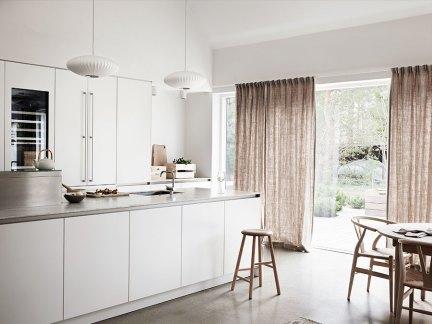 现代简约风格时尚白色系开放式厨房图片