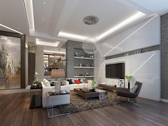混搭风格-90平米三居室-装修样板间
