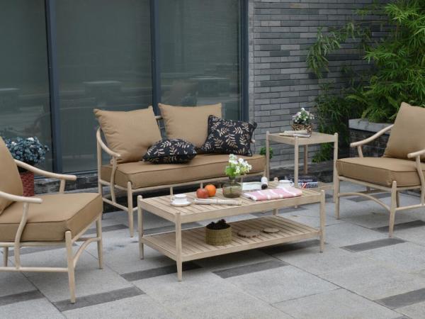馨宁居新中式铝合金仿木纹沙发组合酒店客房休闲沙发园林景观家具