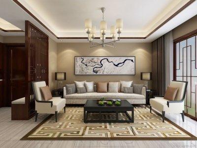 中式风格-130.08平米三居室装修设计
