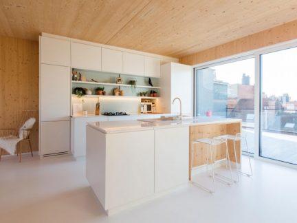 时尚清新简约风格开放式厨房设计效果图