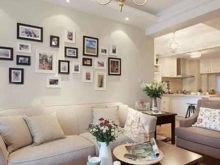 暖意现代风格客厅照片墙装修图片