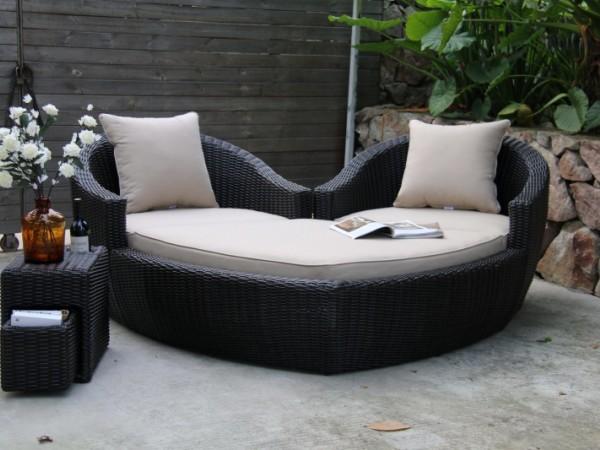 馨宁居PE仿藤心形沙发别墅花园藤编躺床屋顶花园休闲躺椅