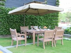 酒店别墅仿木桌椅、室外阳台原木色餐桌椅、中式简约休闲桌椅