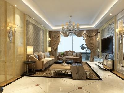新古典风格-163平米三居室装修样板间