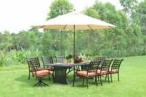 欧美高档户外桌椅,六人位铁艺餐桌椅,铸铝瓷砖吧台桌椅图片