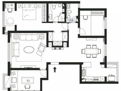 现代简约-143平米三居室装修样板间