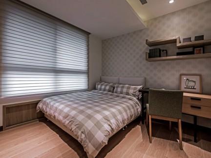 朴实现代风格小清新卧室床铺装修实景图