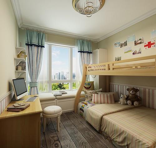 欧美风情-108平米三居室-装修样板间