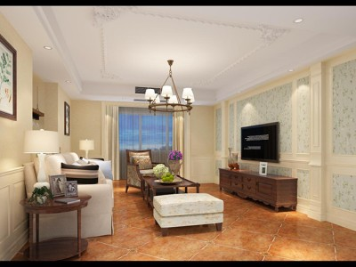 欧美风情-127平米三居室装修样板间