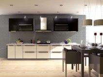 宇曼整体橱柜全屋定制厨柜门定做厨房车刻门板石英石台面现代简约图片