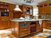 宇曼整体橱柜全屋定制中式实木厨柜门定做灶台拉手开放式厨房装修图片