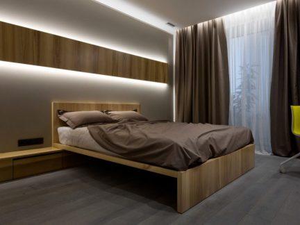 舒适干净简约风格卧室咖啡色窗帘图片