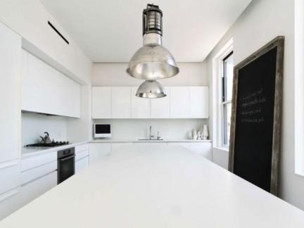 北欧风格白色厨房铁艺灯具装修图片