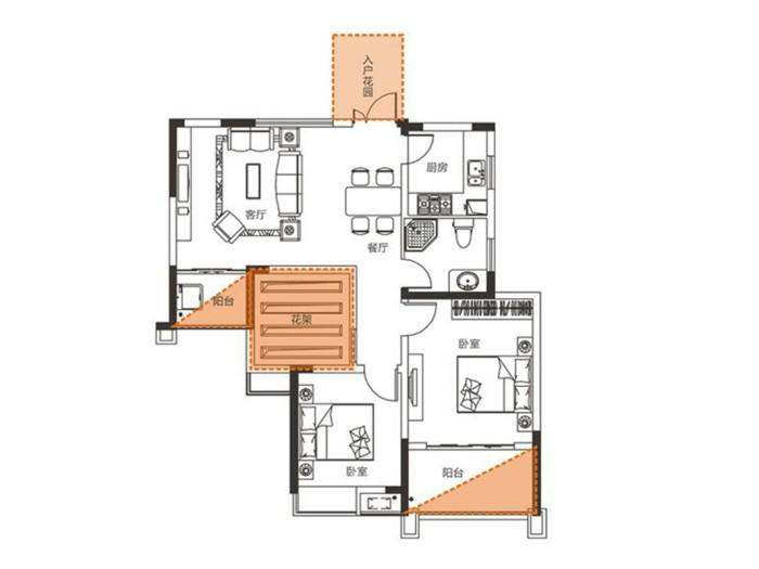 地中海风格-89平米三居室-装修样板间