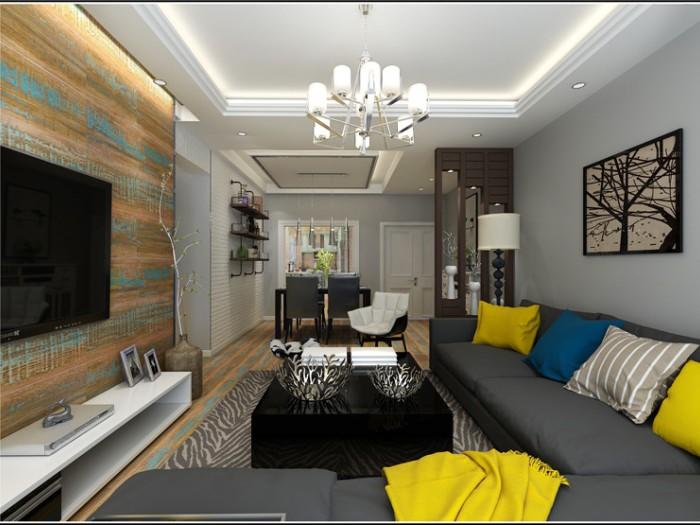 后现代风格-93.51平米二居室-装修样板间