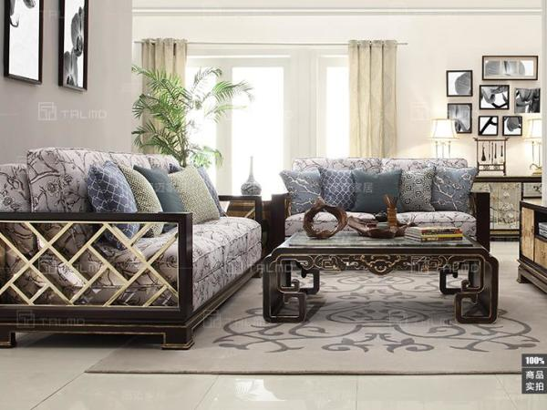 TALMD图迈 现代中式实木布艺沙发新中式客厅沙发双人三人位