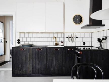 北欧风格时尚黑白撞色厨房装修效果图