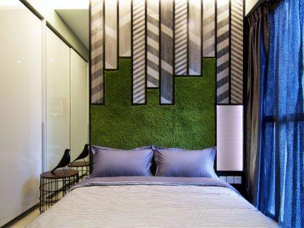 恬淡现代风格卧室创意背景墙效果图