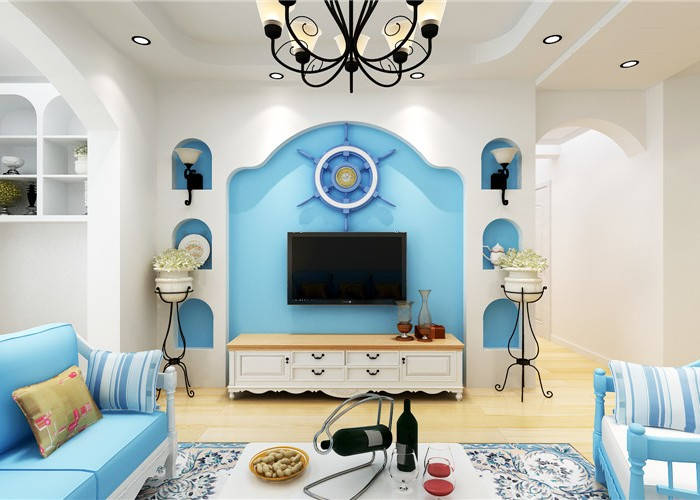 地中海风格-84平米三居室-装修样板间