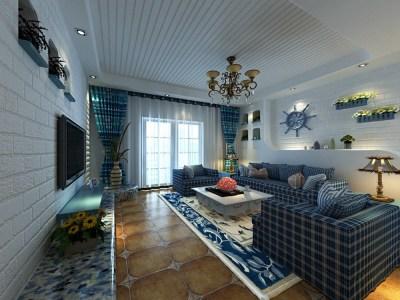 地中海风格-110平米二居室装修样板间