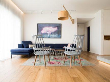 清雅别致简约风格客厅蓝色沙发效果图