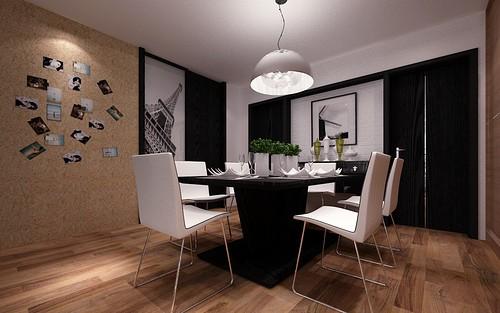 现代简约-136.02平米三居室-装修样板间