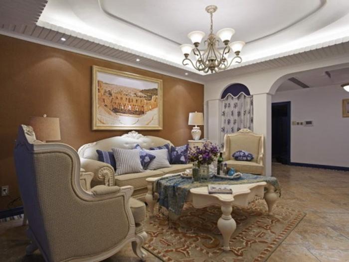 地中海风格-95平米二居室-装修样板间