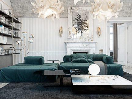 优雅新古典风格客厅创意灯具效果图