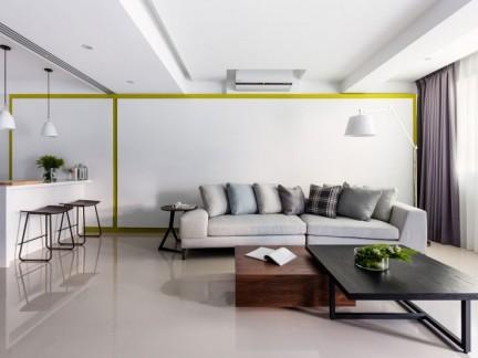 明亮清新现代简约风格客厅装修实景图