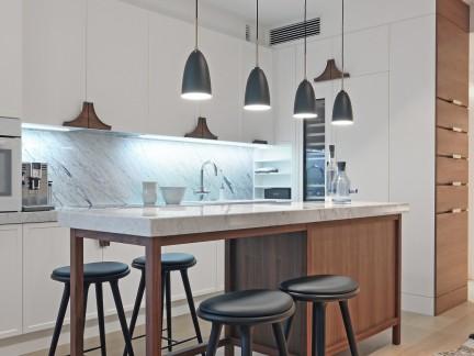 简洁时尚北欧风格厨房餐桌装修实景图