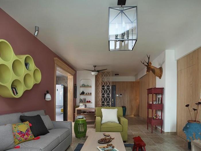 混搭风格-113平米三居室-装修样板间