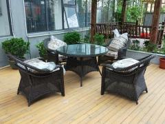 馨宁居仿藤桌椅组合苏州古典园林庭院家具地产售楼处休闲藤椅