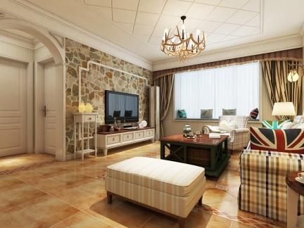 欧美风情-115平米三居室装修样板间