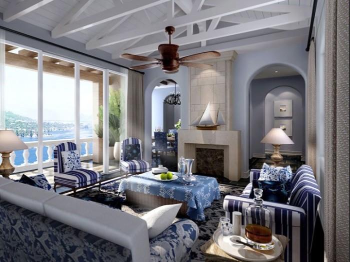 地中海风格-100.21平米三居室-装修样板间