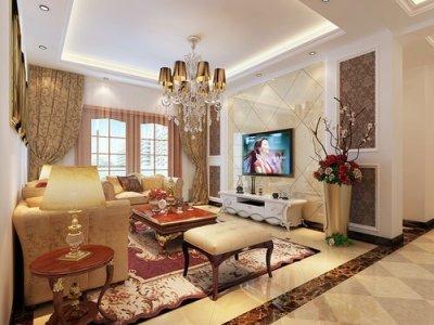中式古典-89平米二居室装修样板间