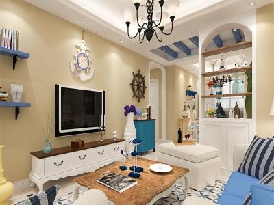 地中海风格-93平米三居室装修样板间