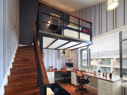 10平米混搭风格儿童房及书房装修效果图