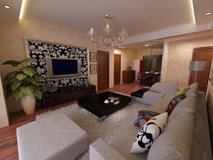 现代简约-119平米三居室-装修样板间