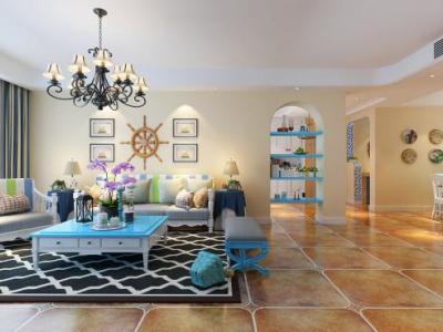 地中海风格-136.56平米四居室装修样板间