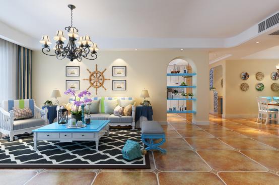 地中海风格-136.56平米四居室-装修样板间