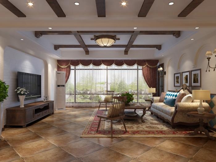 美式风格-186平米三居室-装修样板间